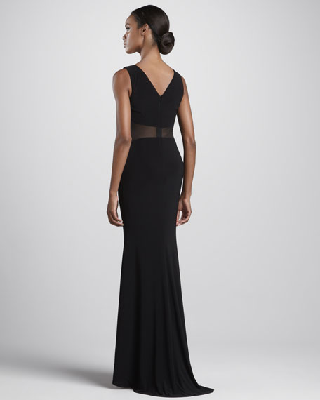 Sleeveless Drape-Neck Gown