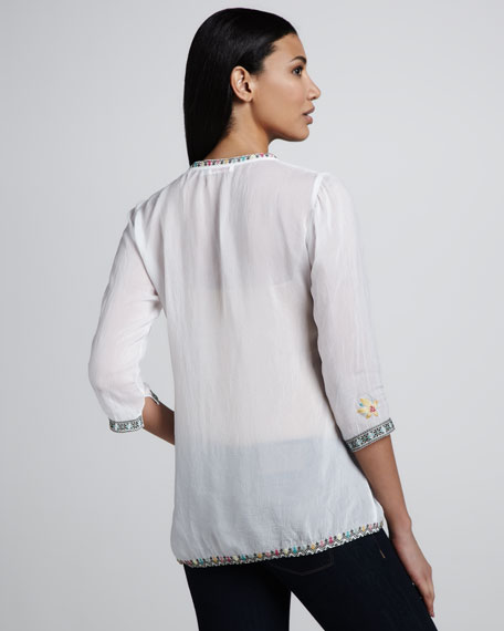 Acey V-Neck Embroidered Blouse, Women's