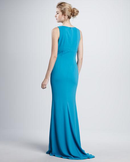 Beaded Deep-V Gown