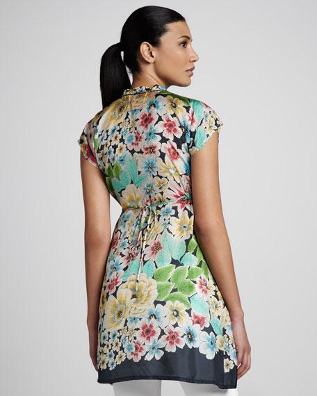 Floral Waist-Tie Silk Tunic, Women's