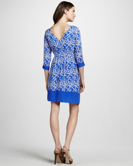 Three-Quarter Sleeve Printed Dress