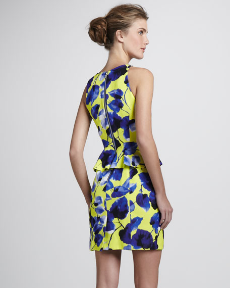 Floral-Print Peplum Dress