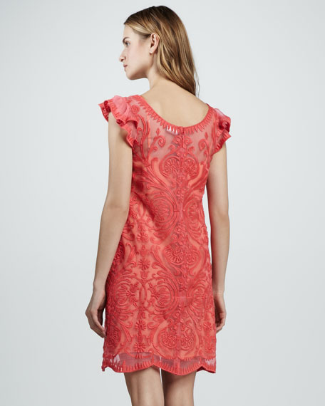 Cap-Sleeve Embroidered Dress