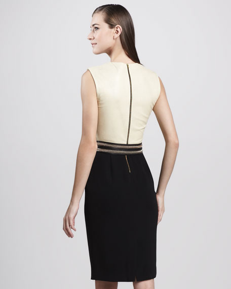 Leather-Top Combo Cocktail Dress