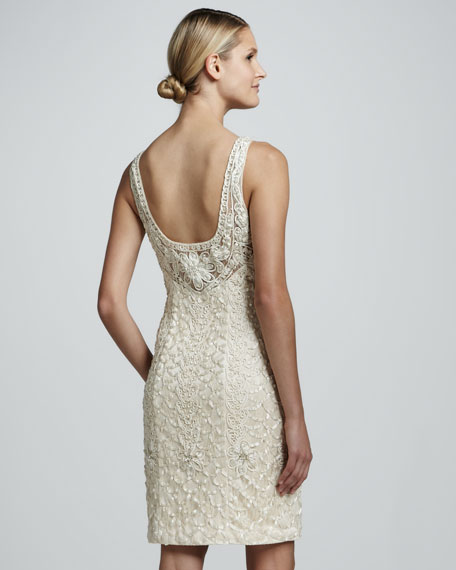 Beaded Scoop-Back Cocktail Dress