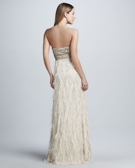 Strapless Feather-Trim Gown