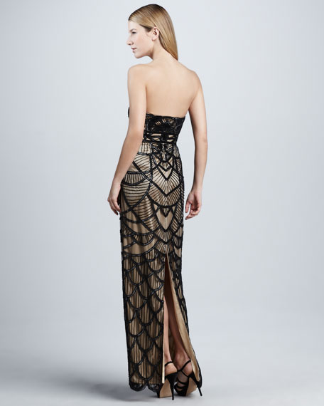 Scalloped Strapless Gown