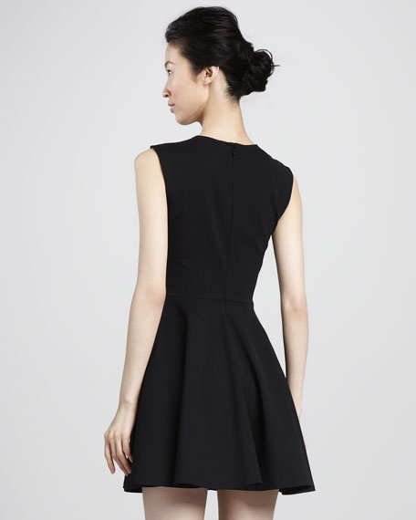 Jeannie Fit-and-Flare Dress, Black