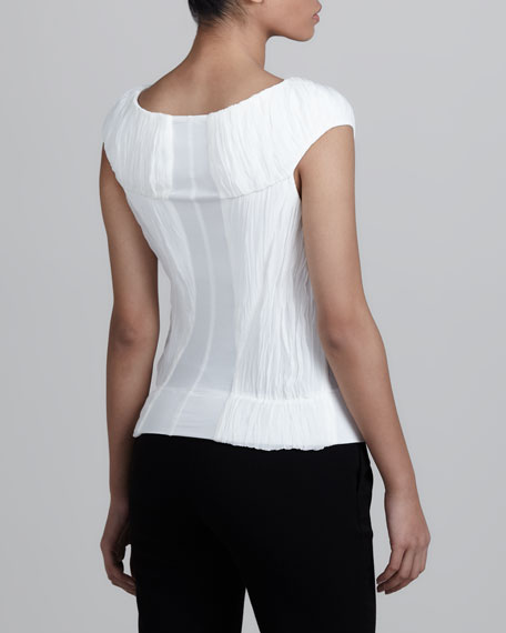 Ruched Cap-Sleeve Tee