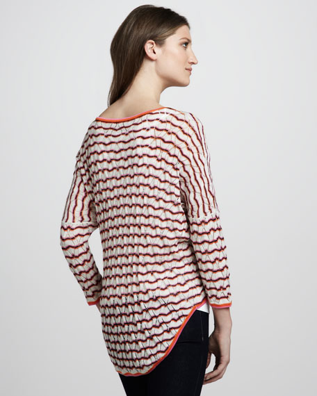 Flame-Stitch High-Low Sweater