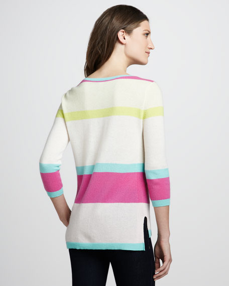Striped High-Low Cashmere Sweater
