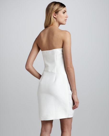 Colorblock-Ruffle Strapless Dress