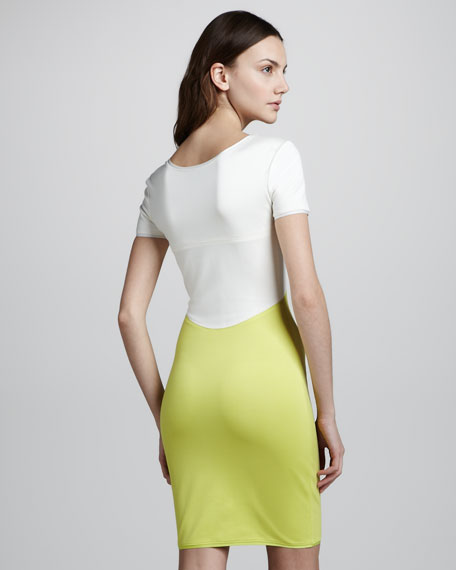Short-Sleeve Colorblock Ponte Dress
