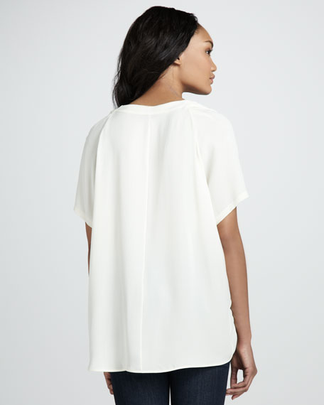 Washed Silk Short-Sleeve Top