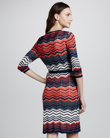 Zigzag Stitch Mock Wrap Dress