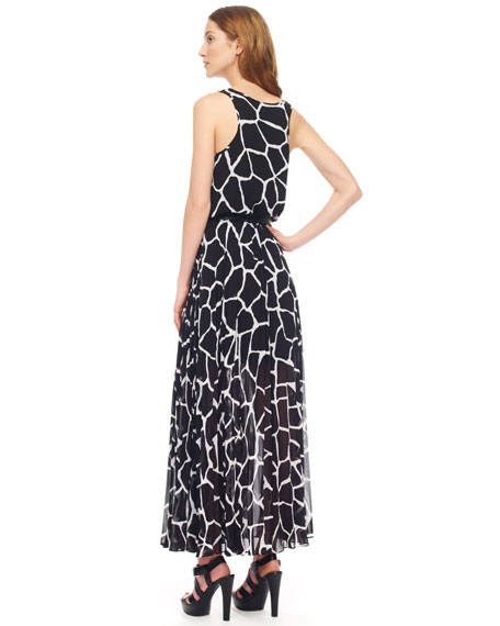 Giraffe-Print Chiffon Maxi Dress