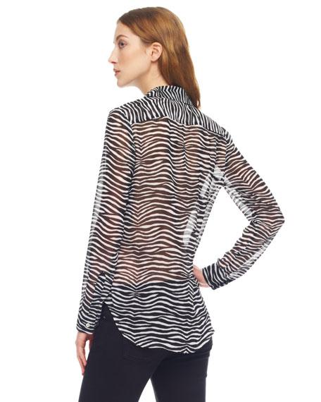Sheer Zebra-Print Blouse