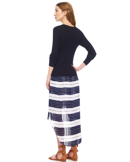 Striped Hi-Lo Chiffon Skirt