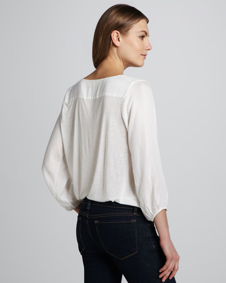 Precious V-Neck Blouse, Porcelain