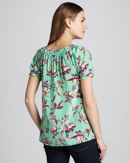 Masha Graphic Floral Tie Blouse