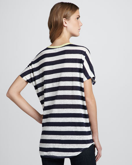 Maddie Striped Linen Slub Top