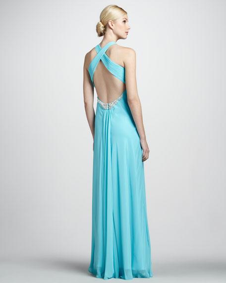 Sleeveless Beaded Hi-Low Gown