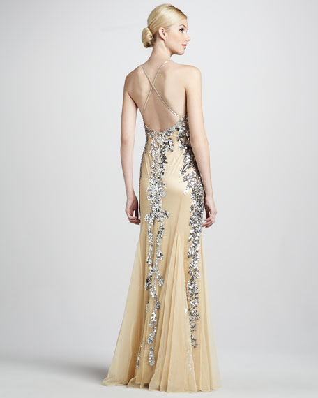 Spaghetti-Strap Sequined Gown