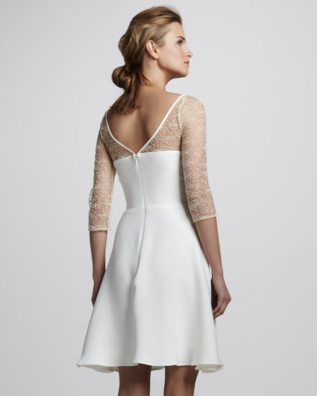 Sheer Polka-Dot-Sleeve Dress, Ivory