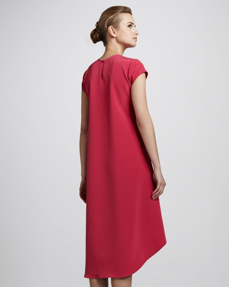 Cap-Sleeve High-Low Dress, Berry