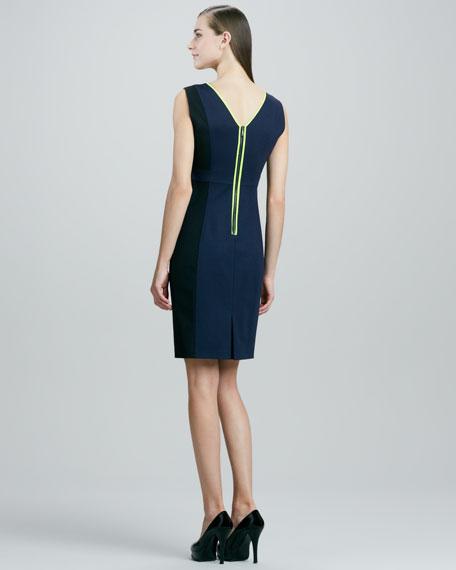 Margot Contrast-Trim Sheath Dress, Navy Yard/Black