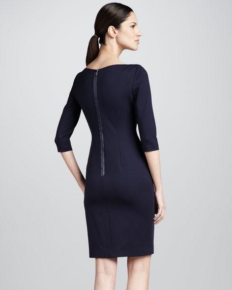Patrina Envelope-Shoulder Sheath Dress, Navy Yard