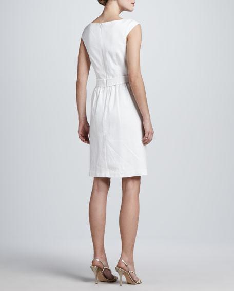 Cap-Sleeve Belt-Waist Dress