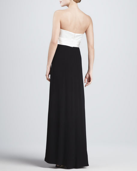 Strapless Two-Tone Origami Gown