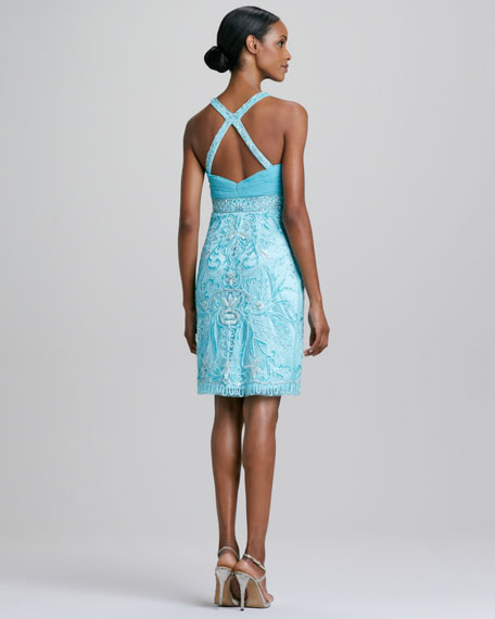 Halter Beaded Cocktail Dress