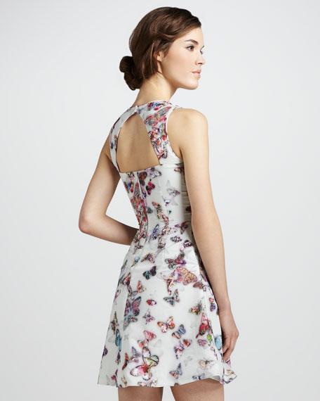 Butterfly-Print Sleeveless Dress