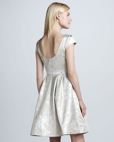 Metallic Cap-Sleeve Cocktail Dress