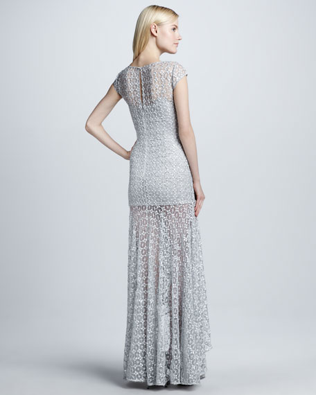 Metallic Beaded Overlay Gown