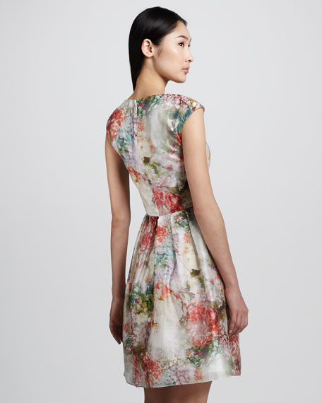 Floral-Print Pleated Dress