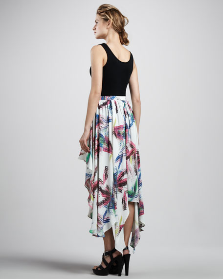 Printed Asymmetric Skirt
