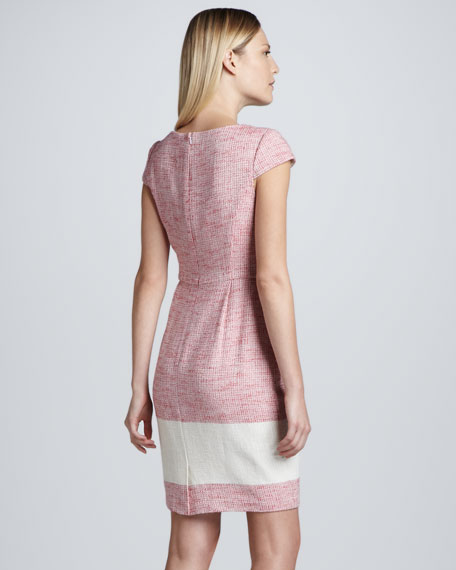 Cap-Sleeve Contrast-Stripe Tweed Dress