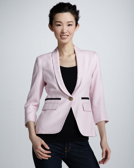 One-Button Shawl Collar Blazer, Magnolia