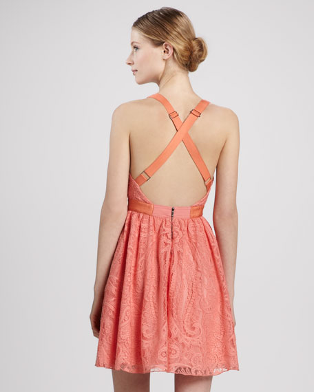 Odette Cross-Back Lace Dress