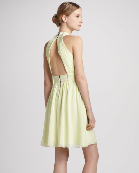 Martine Wrap Tulip Keyhole Dress, Limon