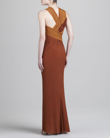 Slash Ruched Jersey Gown