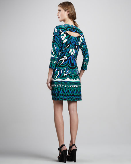 Jersey Print Dress, Aquamarine Multi