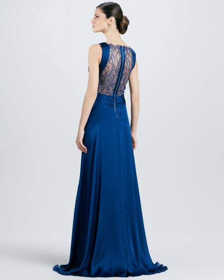 Deep V-Neck Lace-Bodice Gown