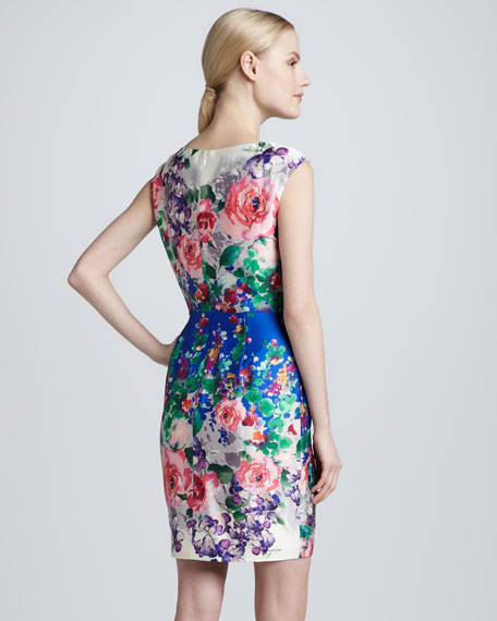 Sleeveless Floral-Print Sheath