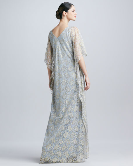 Lace Beaded-Waist Caftan Gown