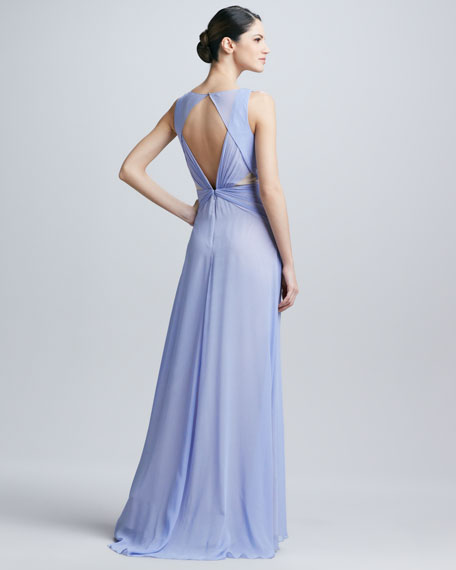 Sleeveless Triangle Neck Gown
