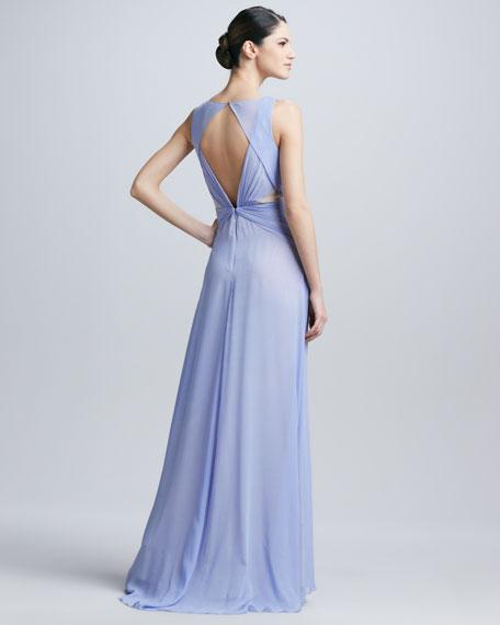 Badgley Mischka Sleeveless Triangle Neck Gown